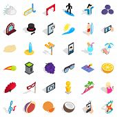 Surfing Icons Set. Isometric Style Of 36 Surfing Icons For Web Isolated On White Background poster
