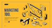 Marketing E-commerce, Data Analysis Tool Isometric Web Banner. Digital Business Content, Column Char poster