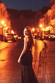 Night City With Princess In Celebrity Style. Girl With Glamour Makeup. Sexy Girl In Elegant Dress. F poster