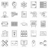 College Icons Set. Outline Set Of 25 College Icons For Web Isolated On White Background poster
