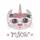 Cartoon Colorful Cat With Flower On The Head For Coloring Book Or Pages poster