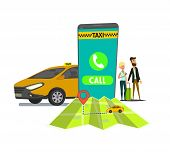 Public Taxi Mobile Application Concept. Hand Holding Smart Phone With Taxi App On Display. Urban Tax poster
