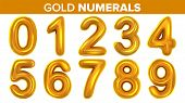 Gold Numerals Set . Golden Yellow Metal Letter. Number 0 1 2 3 4 5 6 7 8 9. Alphabet Font. Typograph poster