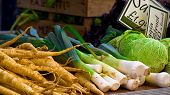 pic of farmers market vegetables  - Vegetables at a market stand in Surrey UK - JPG