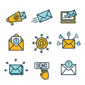 Email Marketing Campaigns Icon Set With Email List, Announcement, & Send Button poster