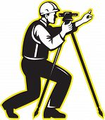 image of theodolite  - Illustration of surveyor civil geodetic engineer worker with theodolite total station equipment done in retro woodcut style - JPG