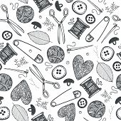 Vector Hand Made Objects, Equipment Seamless Pattern. Hand Drawn Sewing And Needlework Doodle Icons  poster