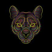 Engraving Of Stylized Psychedelic Puma On Black Background poster
