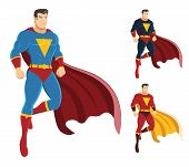 Male Superhero Hovering In The Air Isolated On White Background poster