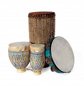 foto of bongo  - African Bongos and tambourine isolated over a white background - JPG