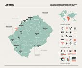 Vector Map Of Lesotho. High Detailed Country Map With Division, Cities And Capital Maseru. Political poster