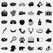 Domestic Dog Icons Set. Simple Style Of 36 Domestic Dog Vector Icons For Web For Any Design poster