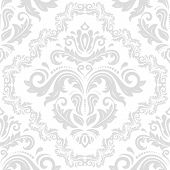 Classic Seamless Vector Light Silver Pattern. Damask Orient Ornament. Classic Vintage Background. Or poster