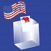 Transparent Ballot Box - Newsletter With An Elephant, Political Symbol Of Republicans - Usa Flag In  poster