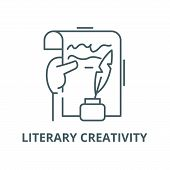 Literary Creativity Vector Line Icon, Linear Concept, Outline Sign, Symbol poster