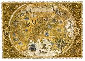 Old Pirate Map Of Fantasy World With Dragons. Hand Drawn Graphic Illustration Of World Atlas With Vi poster