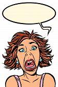Funny Woman Screams, Strange Facial Expressions. Comic Cartoon Pop Art Vector Retro Vintage Drawing poster