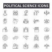 Political Science Line Icons, Signs, Vector Set, Linear Concept, Outline Illustration poster