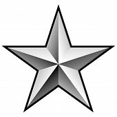 Beautiful Perfectly Symmetrical Silver Chrome Style Shiny Star With Sharp Gradient Tones, 3d Look An poster