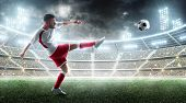Sport. Professional Soccer Player Kicking A Ball. Night 3d Stadium With Fans And Flags. Soccer Conce poster