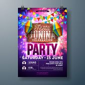 Festa Junina Party Flyer Design With Flags, Paper Lantern And Typography Design On Firework Backgrou poster