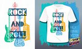 Rock And Roll Music Lettering Slogan Retro Sketch Style Electric Guitar, Bass Guitar, Piano For T Sh poster