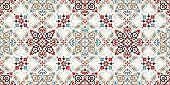 Seamless Pattern Based On Ornament Paisley Bandana Print. Boho Vintage Style Vector Background. Silk poster