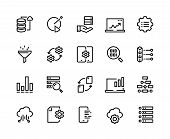 Data Analytic Line Icons. Business Technology Process Digital Gear Support Information Network Tech. poster