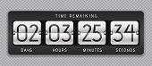 Countdown Flip Clock. Digital Counter, Analog Time Or Scoreboard, Remaining Time Banner Counter. Vec poster