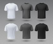 Realistic Male T-shirt. White And Black Mockup, Front And Back View 3d Isolated Design Template. Vec poster