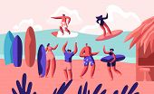 Young Surfers Riding Sea Wave On Surf Boards And Relaxing On Sandy Beach With Bungalow. Summertime V poster