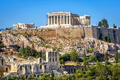 Acropolis Hill With Parthenon Temple, Athens, Greece. Famous Ancient Acropolis Is A Top Landmark Of  poster