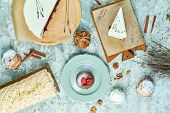 Meringue Cakes With Lavender Assortment Of Several Cakes Flatlay poster