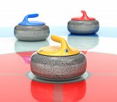 Yellow, Red And Blue Curling Stones In Curling Rink - 3d Illustration poster