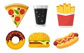 Set Of Colorful Fast Food Icons For Web Sites And Apps, Pizza, Soda, French Fries, Donut, Hamburger, poster