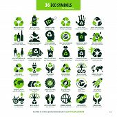 Collections Of Eco Friendly Flat Symbols, High Detailed Icons, Graphic Design Web Elements, Alternat poster