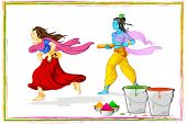 stock photo of lord krishna  - illustration of Radha and Lord Krishna playing holi - JPG