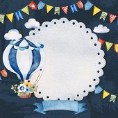 Lovely Circus Invitation With Air Balloon,ribbon Banner,fluffy Clouds,garlands And More.dark Backgro poster