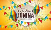 Festa Junina Illustration With Party Flags And Paper Lantern On Yellow Background. Vector Brazil Jun poster