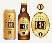 Vector Label For Craft Beer In Retro Style On Gold Background, Decorated By Crown And Stars In Oval  poster
