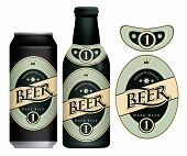 Vector Label For Dark Beer In Retro Style, Decorated By Crown And Stars In Oval Frame. Sample Beer L poster