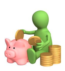 stock photo of save money  - 3d puppet who is saving money in piggy bank - JPG