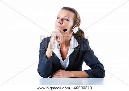 Operador de helpdesk femenino en blanco