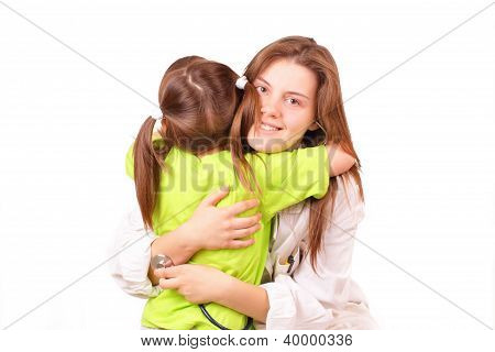 Young Medical Doctor Woman With Little Girl