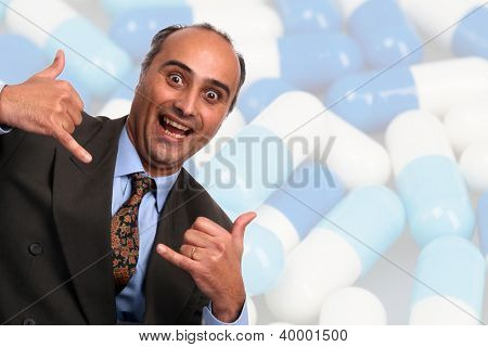 crazy businessman with pills background