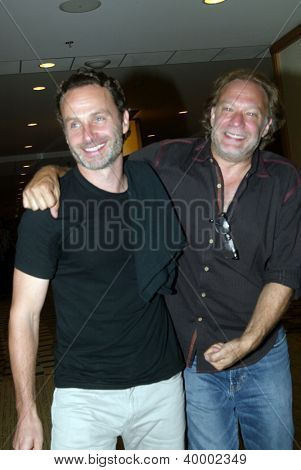 SAN DIEGO, CA - JULY 13: Andrew Lincoln and Greg Nicotero arrives at the 2012 Comic Con convention press room at the Bayfront Hilton Hotel on Friday, July 13, 2012 in San Diego, CA.