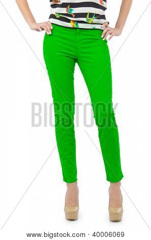 Model with trousers isolated on white