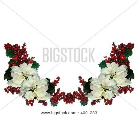 Christmas Border Poinsettias And Holly Berries