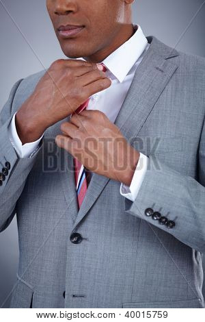 Close-up of smart businessman touching his necktie