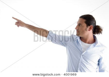 Fashionable Man Pointing Sideways